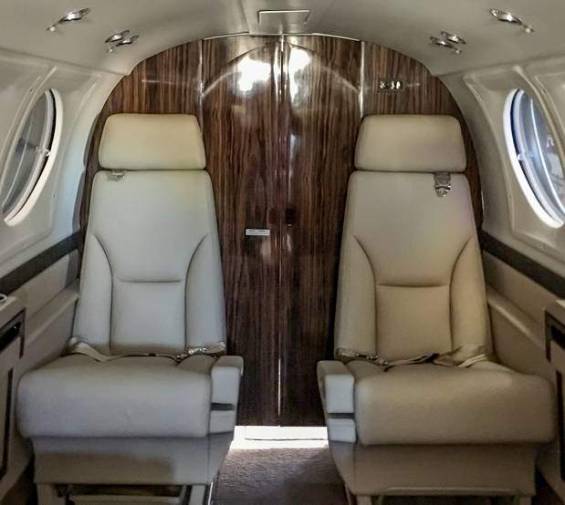 King Air 200 new seating, carpet, and cabinetry